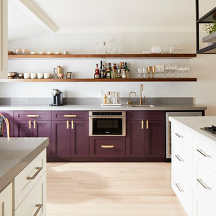75 Beautiful Kitchen With Purple Cabinets And Stainless Steel .