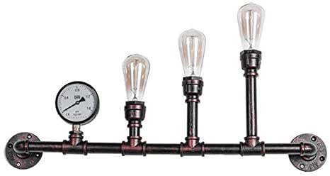 Retro Wrought Iron Wall Lamp, 3 Light Steampunk Water Pipe Style .
