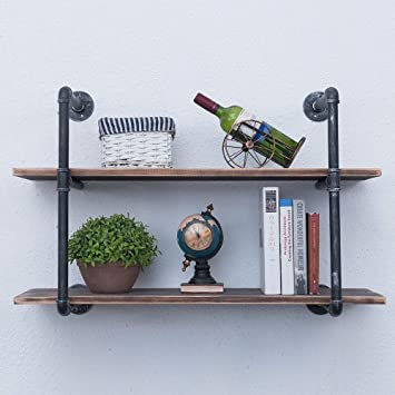 Amazon.com: GWH Industrial Pipe Shelving Wall Mounted,36in Rustic .