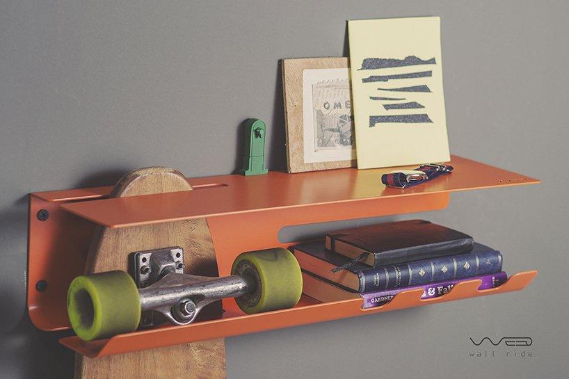 wall ride - wall mounted skate rack | designboom sh