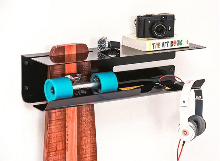 Wall Ride Skateboard Shelf | Skateboard rack, Skateboard shelves .