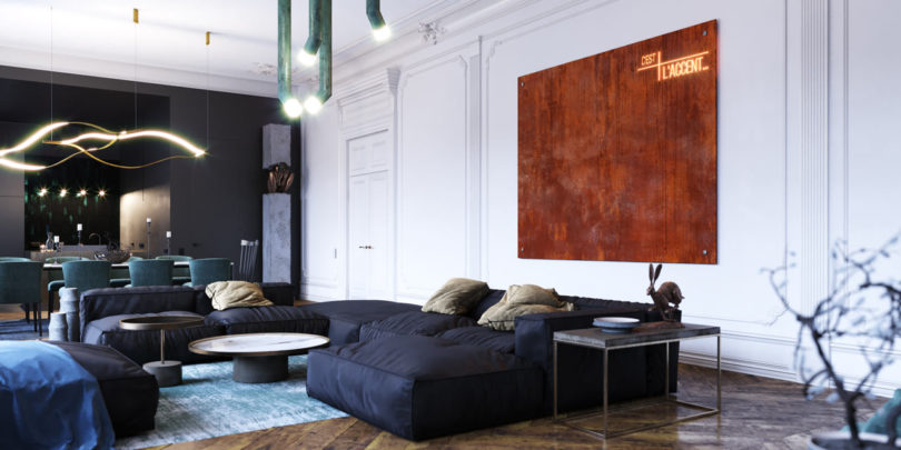 An Eclectic, Monochromatic Apartment in Rouen, France by Dmitry .