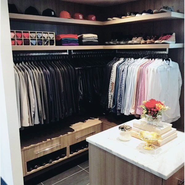 Small Well Organized Mens Closet With Shelves For Hats Ties And .