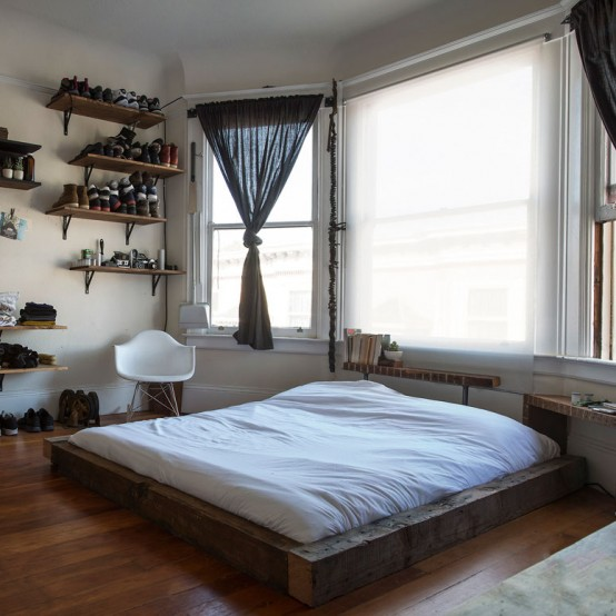 Well-Organized Masculine Bedroom Combined With A Closet - DigsDi