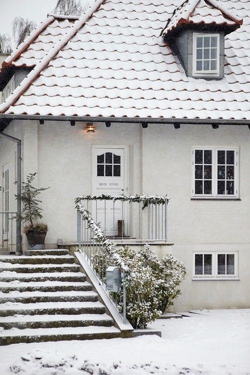 white door. snow. house. | Danish house, Winter house, Swedish hou