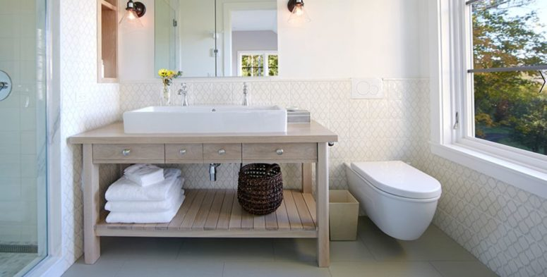 A Bathroom Features A Wooden Vanity And A Great View From A Wide .