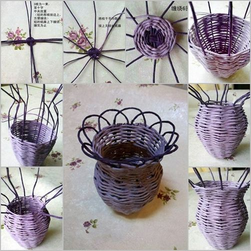 how to DIY Woven Flower Vase from Paper Roll   Paper basket .