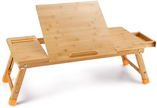 Amazon.com : Laptop Desk, NNEWVANTE Bamboo Laptop Table Adjustable .