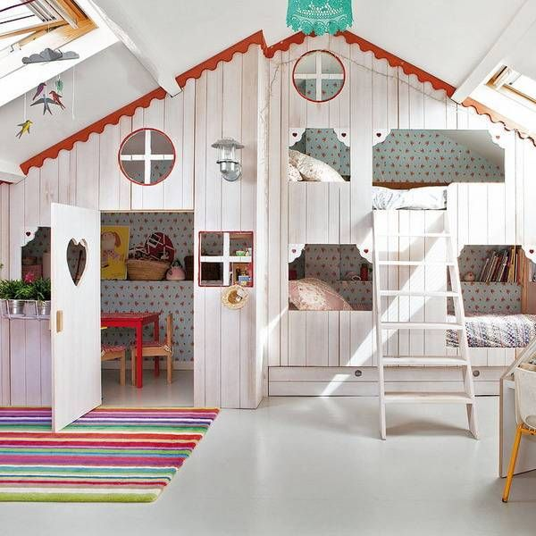 Girls Bedroom Ideas, Attic Girl Room Design with Small Playhouse .