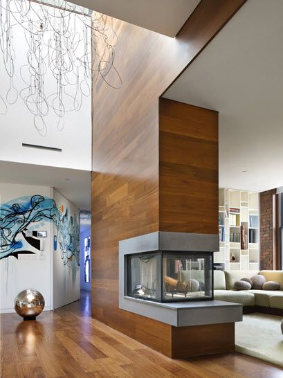 Wood and Concrete: A Match Made in Heaven | Loft design, Fireplace .