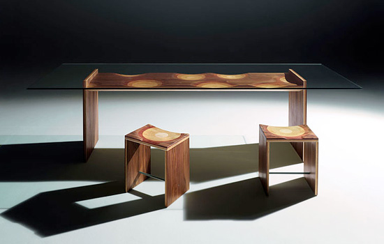 Wood Dining Room Furniture with Unique Finish by Toyo Ito - DigsDi