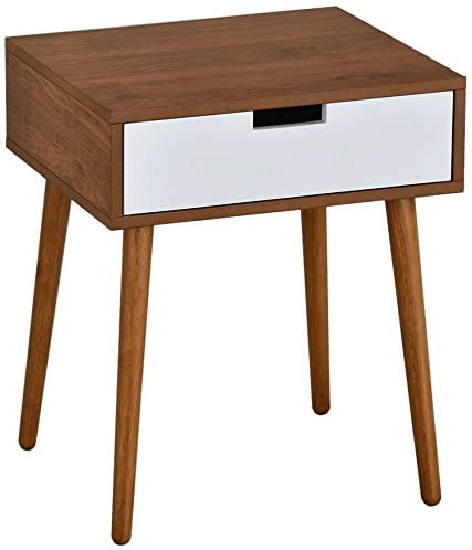 Amazon.com: Light Walnut/White Side End Table Nighstand with .