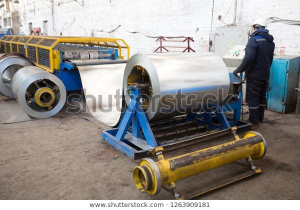 Metal Rolling Industrial Workshop Craftsmen Working Stock Photo .